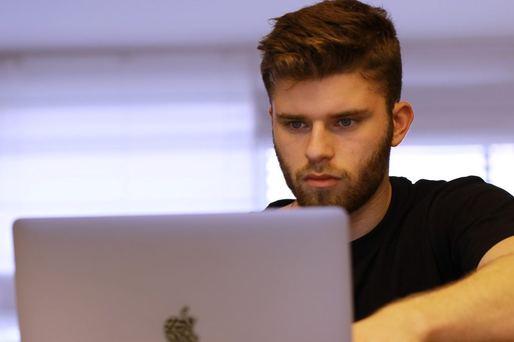 young man, student, studying